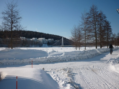 Cycling on snow in Jyväskylä