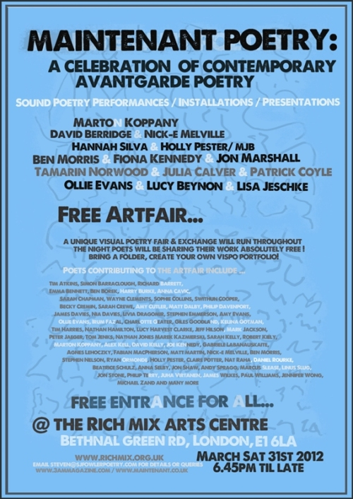 Maintenant Poetry 29th March
